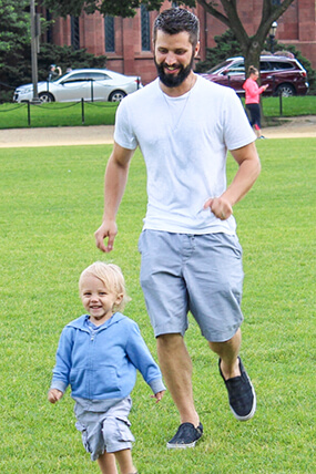 Matt Hostettler and his son running